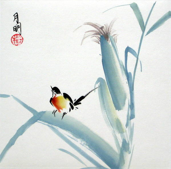 Chinese Painting Poster featuring the painting Envoy Of Harvest by Ming Yeung