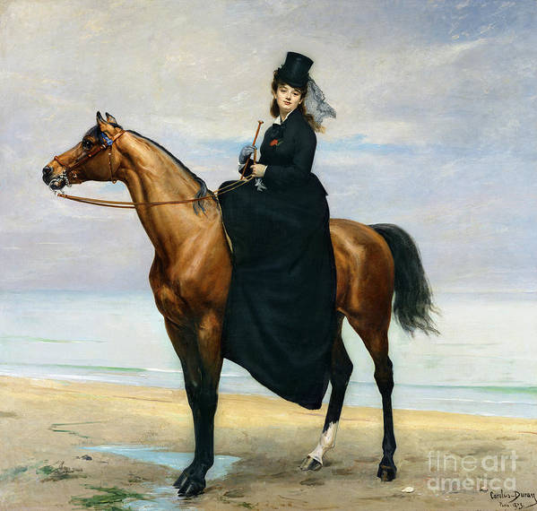 Equestrian Poster featuring the painting Equestrian Portrait Of Mademoiselle Croizette by Charles Emile Auguste Carolus Duran