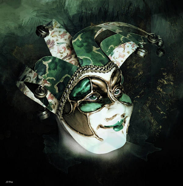 Surreal Poster featuring the mixed media Even With Her Mask, Her Eyes Give Her Away by G Berry