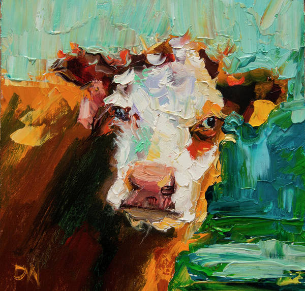 Cow Poster featuring the painting Eye On You Cow by Diane Whitehead