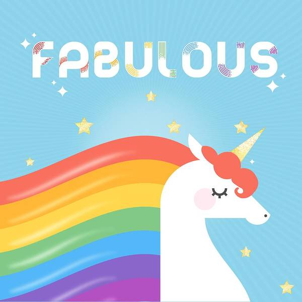 Graphic-design Poster featuring the painting Fabulous Sparkling Rainbow Unicorn by Little Bunny Sunshine