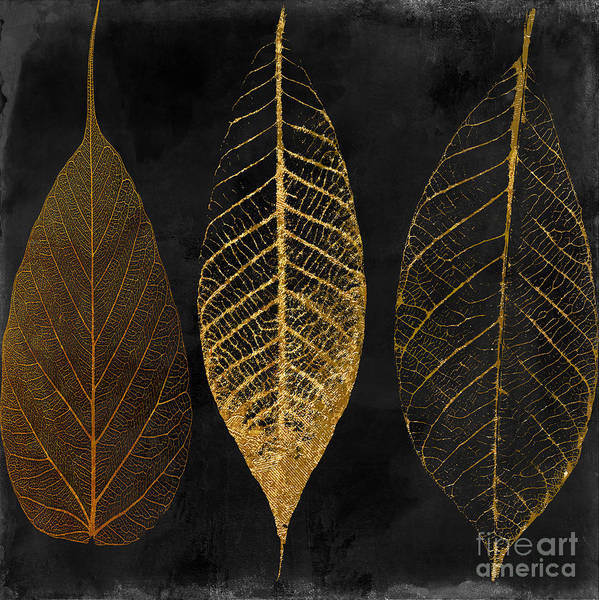 Leaf Poster featuring the painting Fallen Gold II Autumn Leaves by Mindy Sommers