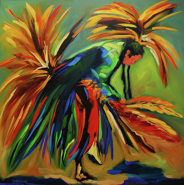 Diane Whitehead Native Poster featuring the painting Fancy Dancer by Diane Whitehead