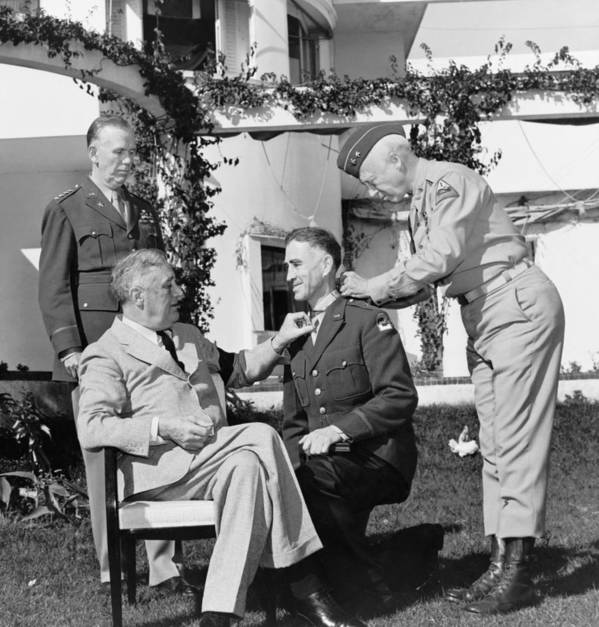 Franklin Roosevelt Poster featuring the photograph Fdr Presenting Medal Of Honor To William Wilbur by War Is Hell Store