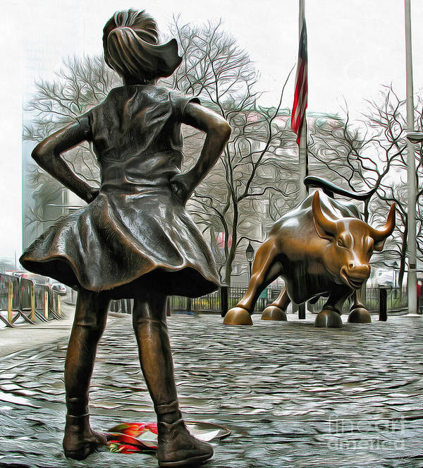 Fearless Girl And Wall Street Bull Statues 5 Poster By