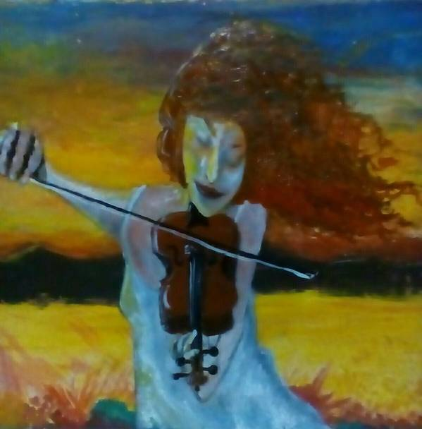 Music Poster featuring the painting Fiddler and the Fire by J Bauer