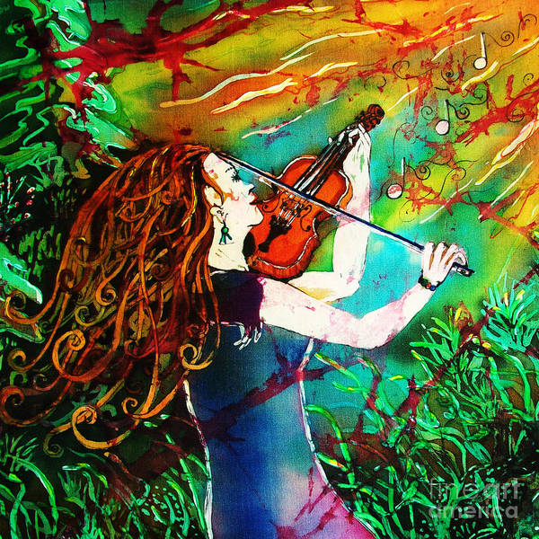 Music Poster featuring the painting Fiddling Toward the Sun by Sue Duda