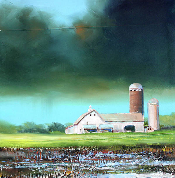 Farm Poster featuring the painting Field Puddles by Toni Grote