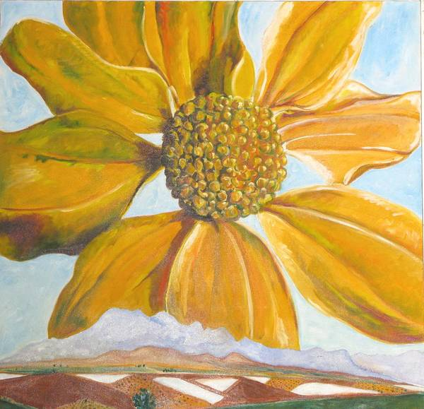 Landscape Poster featuring the painting Fields On A Flowery Morning by Kathy Mitchell