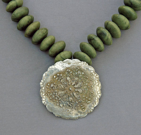 Necklace Poster featuring the jewelry Fine Silver Doily Pendant On Green Jade by Mirinda Kossoff