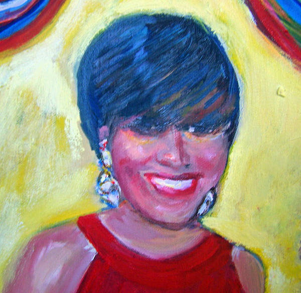 Portrait Poster featuring the painting First Lady In Red by Patricia Taylor