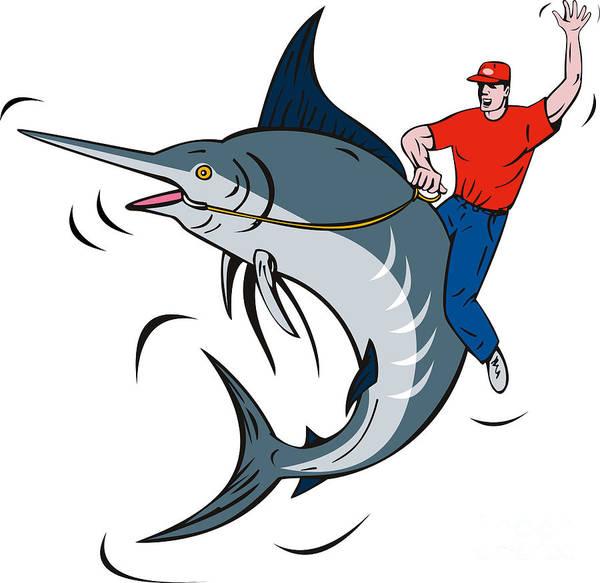 Blue Marlin Poster featuring the digital art Fisherman Riding Marlin by Aloysius Patrimonio