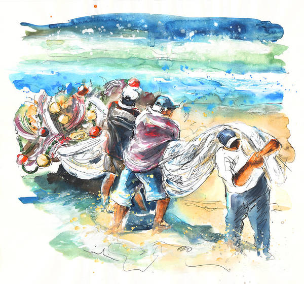 Portugal Poster featuring the painting Fishermen In Praia De Mira by Miki De Goodaboom