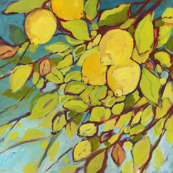 Lemon Poster featuring the painting Five Lemons by Jennifer Lommers