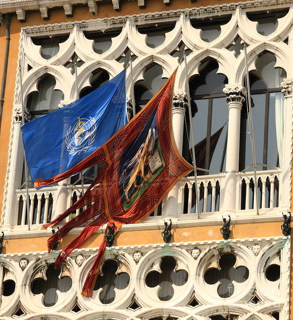 Venice Poster featuring the photograph Flags On Palazzo In Venice by Michael Henderson