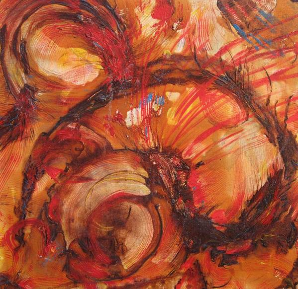 Sea Art Poster featuring the painting Flaming Red Shell by Susan McNeil