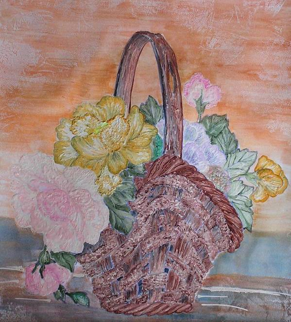 Floral Poster featuring the painting Floral Basket by John Vandebrooke