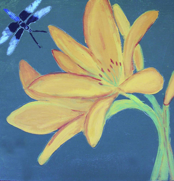 Acrylic Poster featuring the painting Flower And Insect by M Valeriano