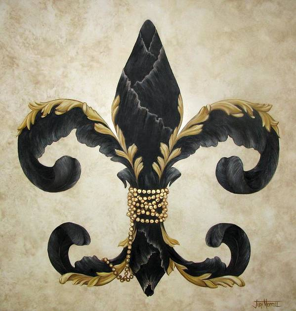 Fleur-de-lis Poster featuring the painting Flower Of New Orleans Black And Gold by Judy Merrell