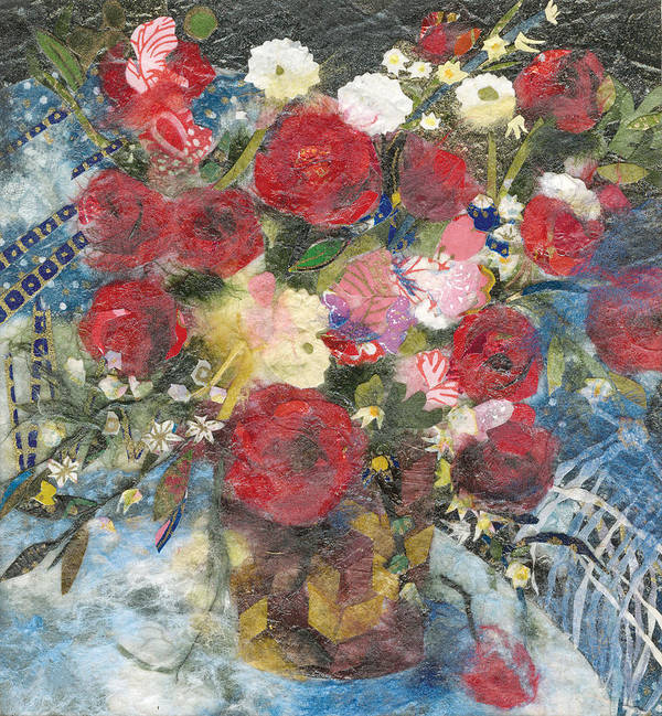 Limited Edition Prints Poster featuring the painting Flowers in a basket by Nira Schwartz
