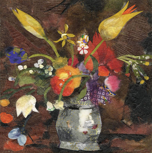 Limited Edition Prints Poster featuring the painting Flowers in a silver vase by Nira Schwartz