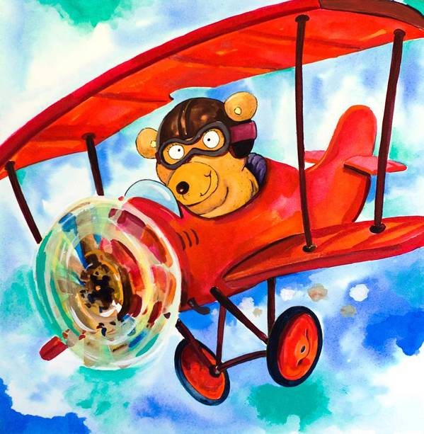 Bear Poster featuring the painting Flying Bear by Scott Nelson