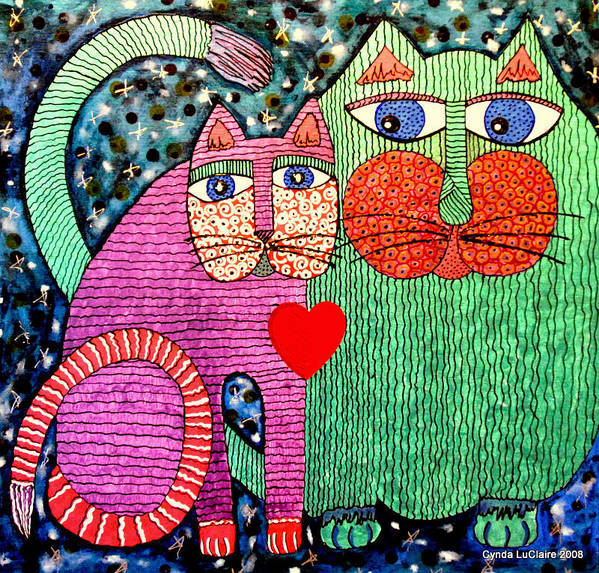 Cats Poster featuring the painting For All The Cats I by Cynda LuClaire