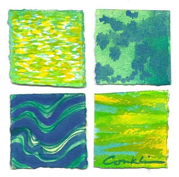 Abstract Poster featuring the painting Four Squares Blue, Green, Yellow by Cynthia Conklin