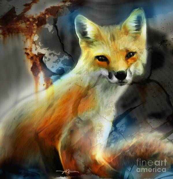 Fox Poster featuring the painting Foxy Baby by Bob Salo