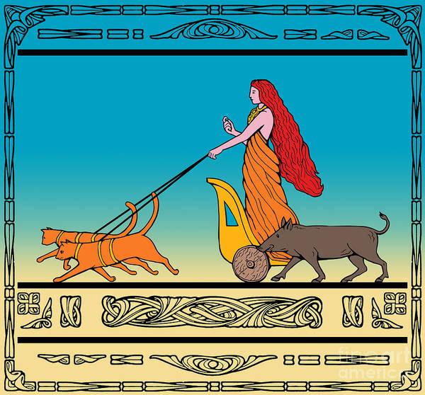 Freya Poster featuring the digital art Freya Norse Goddess by Aloysius Patrimonio