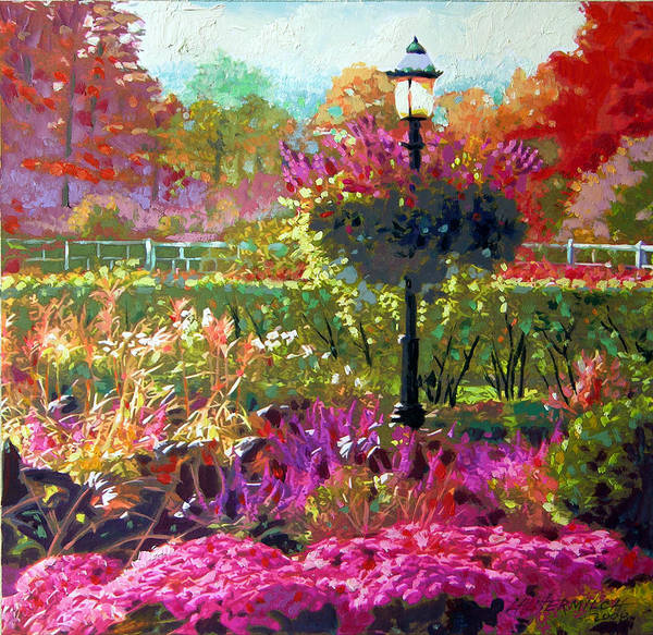 Landscape Poster featuring the painting Gas Light in the Garden by John Lautermilch