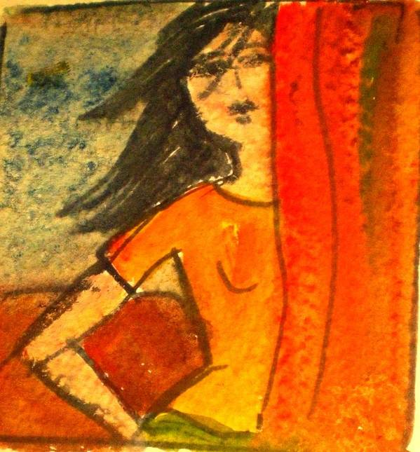Watercolour Poster featuring the painting Girl Behind The Curtain by Maria Rosaria DAlessio