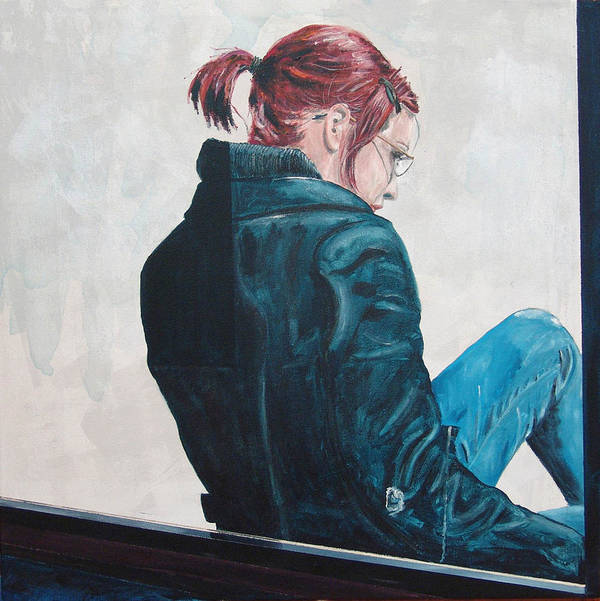Kevin Callahan Poster featuring the painting Girl in the Window-SFAI by Kevin Callahan