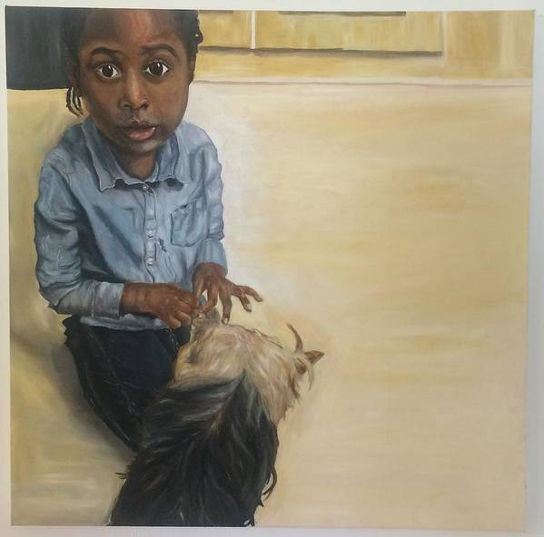 Portrait Poster featuring the painting Girl With Dog by Kareem Marsh-henry