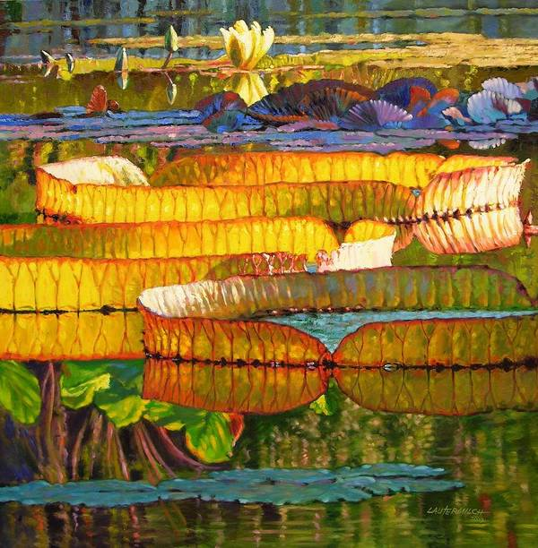 Sun On Lilies Poster featuring the painting Glorious Morning Lilies by John Lautermilch