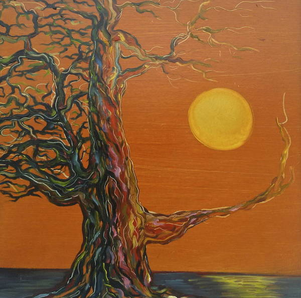 Gnarly Tree Poster featuring the painting Gnarly Tree by the Sea by Karen Doyle