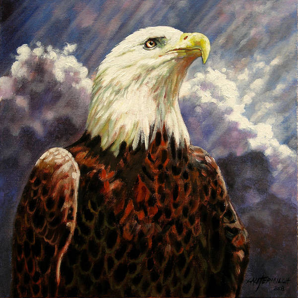 American Bald Eagle Poster featuring the painting God Bless America by John Lautermilch