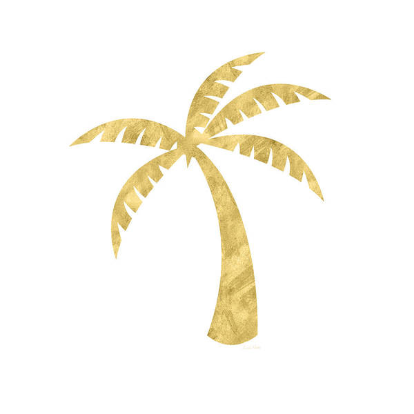 Palm Tree Poster featuring the mixed media Gold Palm Tree- Art by Linda Woods by Linda Woods