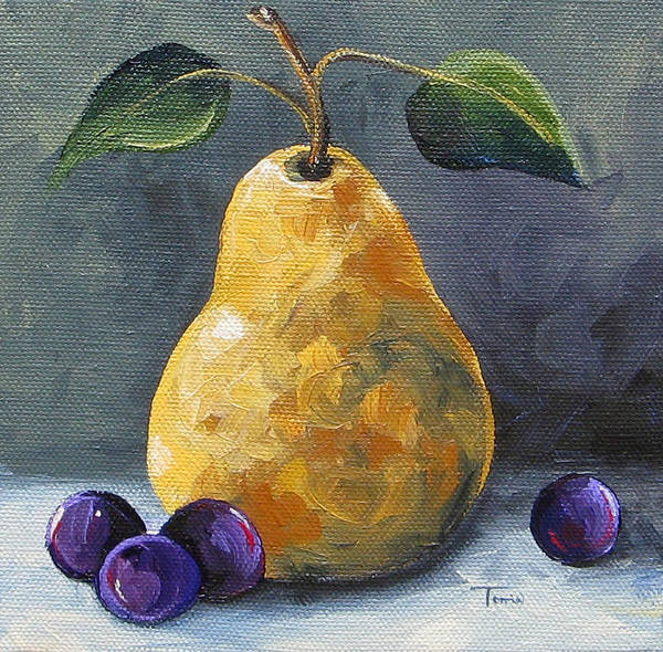 Pear Poster featuring the painting Gold Pear With Grapes II by Torrie Smiley