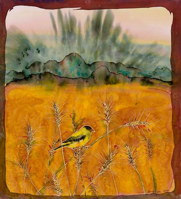 Birds Poster featuring the tapestry - textile Goldfinch In The Wheat by Carolyn Doe