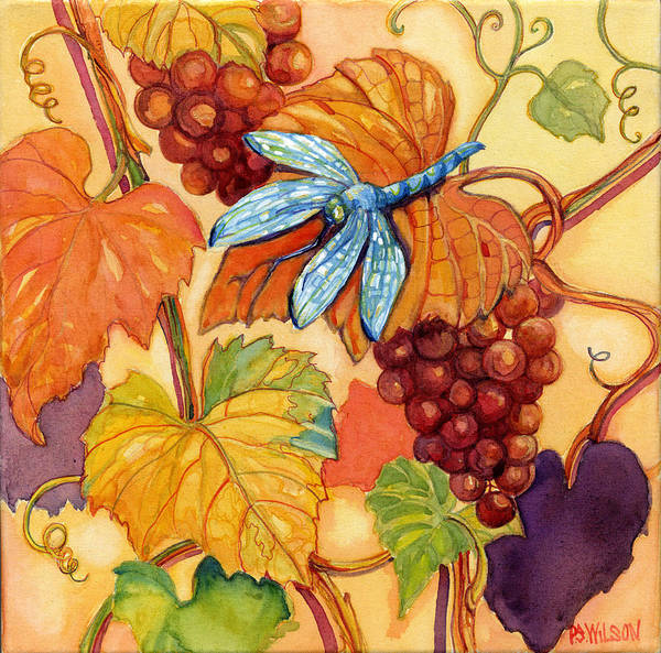 Dragonfly Poster featuring the painting Grapes And Dragonfly by Peggy Wilson