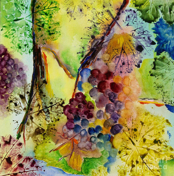 Watercolor Poster featuring the painting Grapes And Leaves IIi by Karen Fleschler
