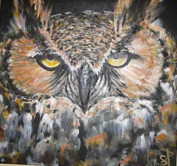 Most Powerful Owl Poster featuring the mixed media Great Hornet Owl by Sandra Peyrolle