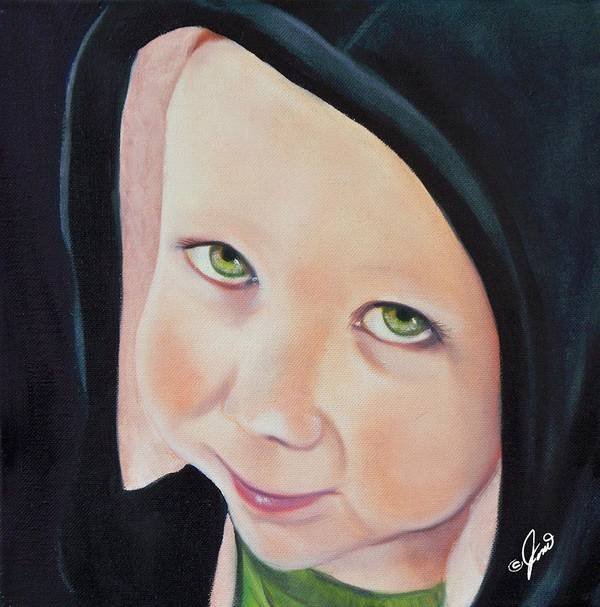 Portrait Poster featuring the painting Green Munchkin by Joni McPherson