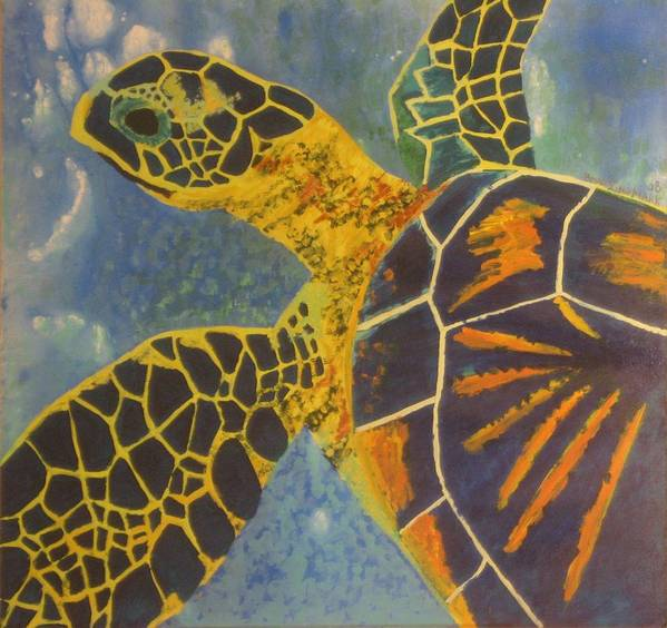 Turtle Paintings Poster featuring the painting Green Sea Turtle by Bryan Zingmark