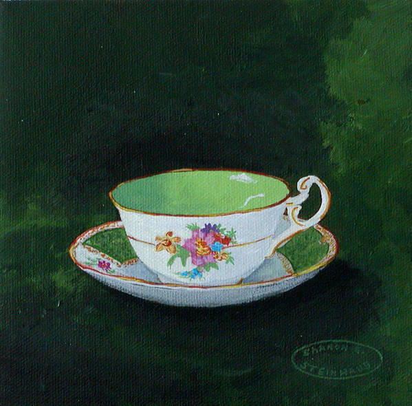 Cup And Saucer China Original Acrylic Painting Poster featuring the painting Green Teacup by Sharon Steinhaus