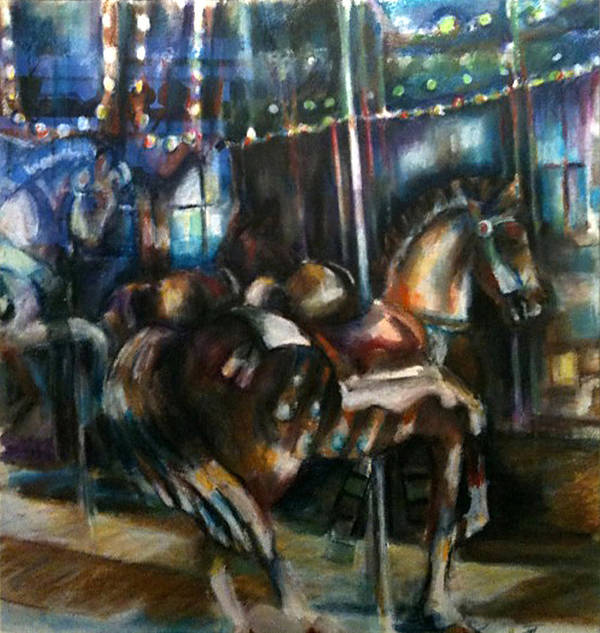Carrousel Poster featuring the painting Hampton Carrousel by Jackie Merritt