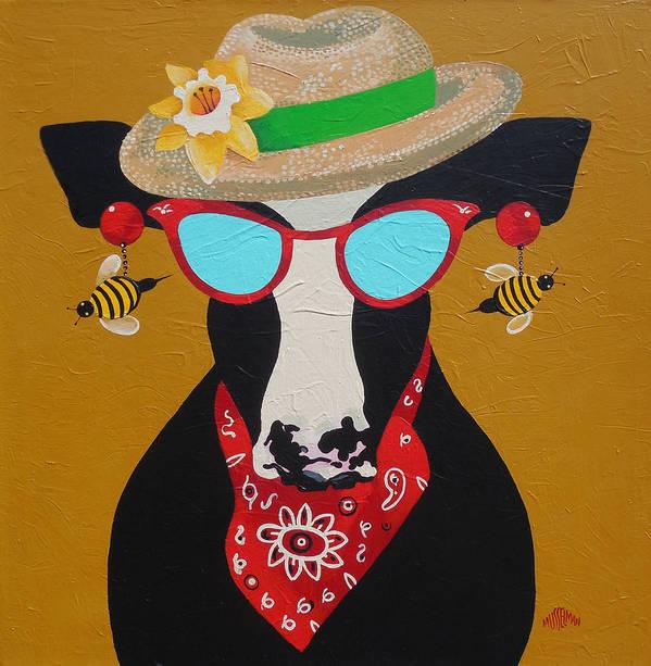 Cow Poster featuring the painting Harriet Honeybee Holstein by Ken Musselman