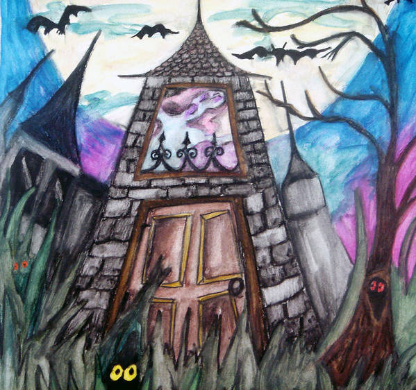 Haunted House Poster featuring the painting Haunted House by Jenni Walford