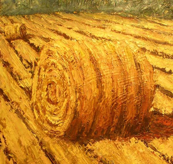 Art Sale Poster featuring the painting Haybale II by Jaylynn Johnson